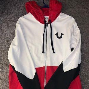 True religion red white black hoodie